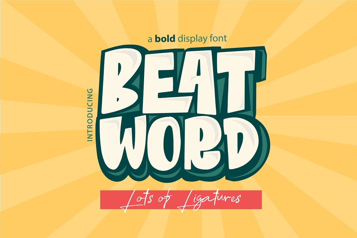 Beat Word Free Font - decorative-display