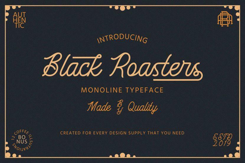 Black Roasters Free Font - script