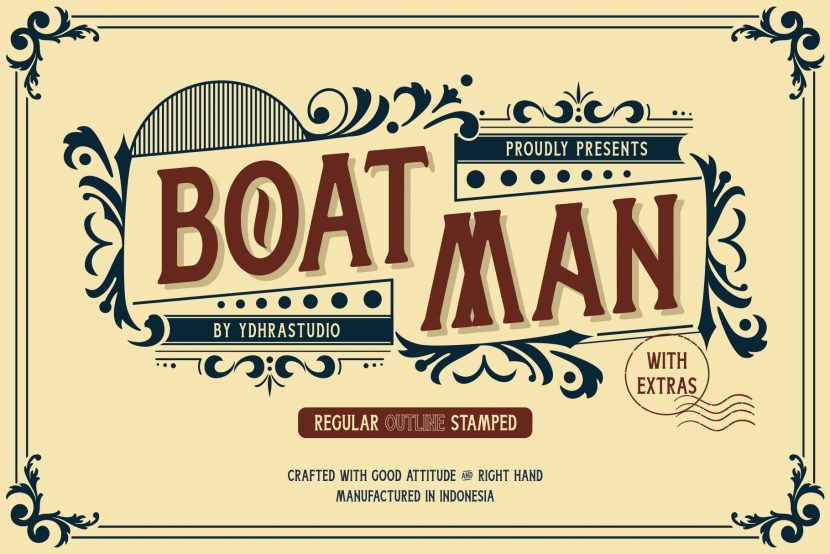 Boatman Free Font - decorative