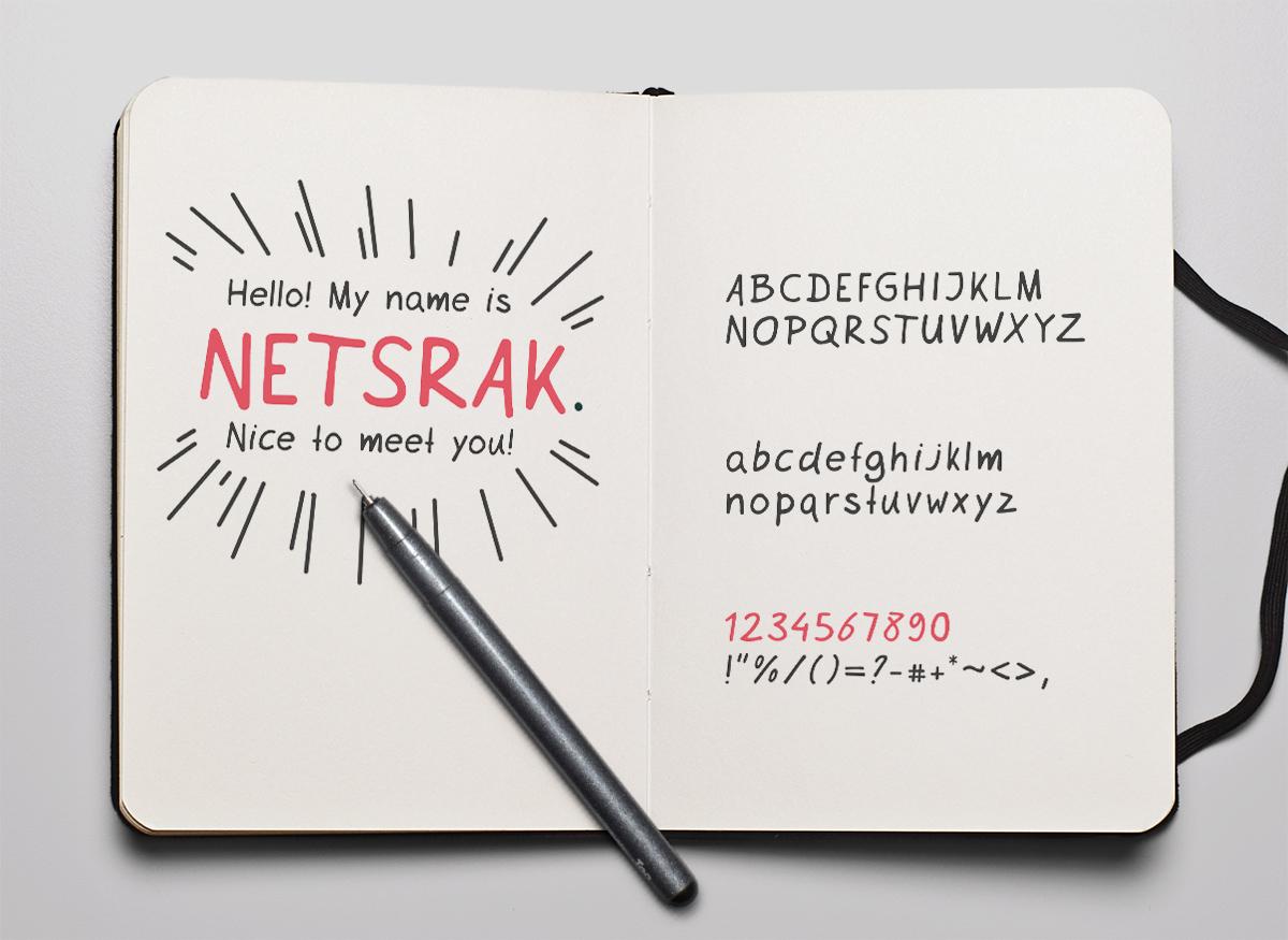 Netsrak Free Font - script