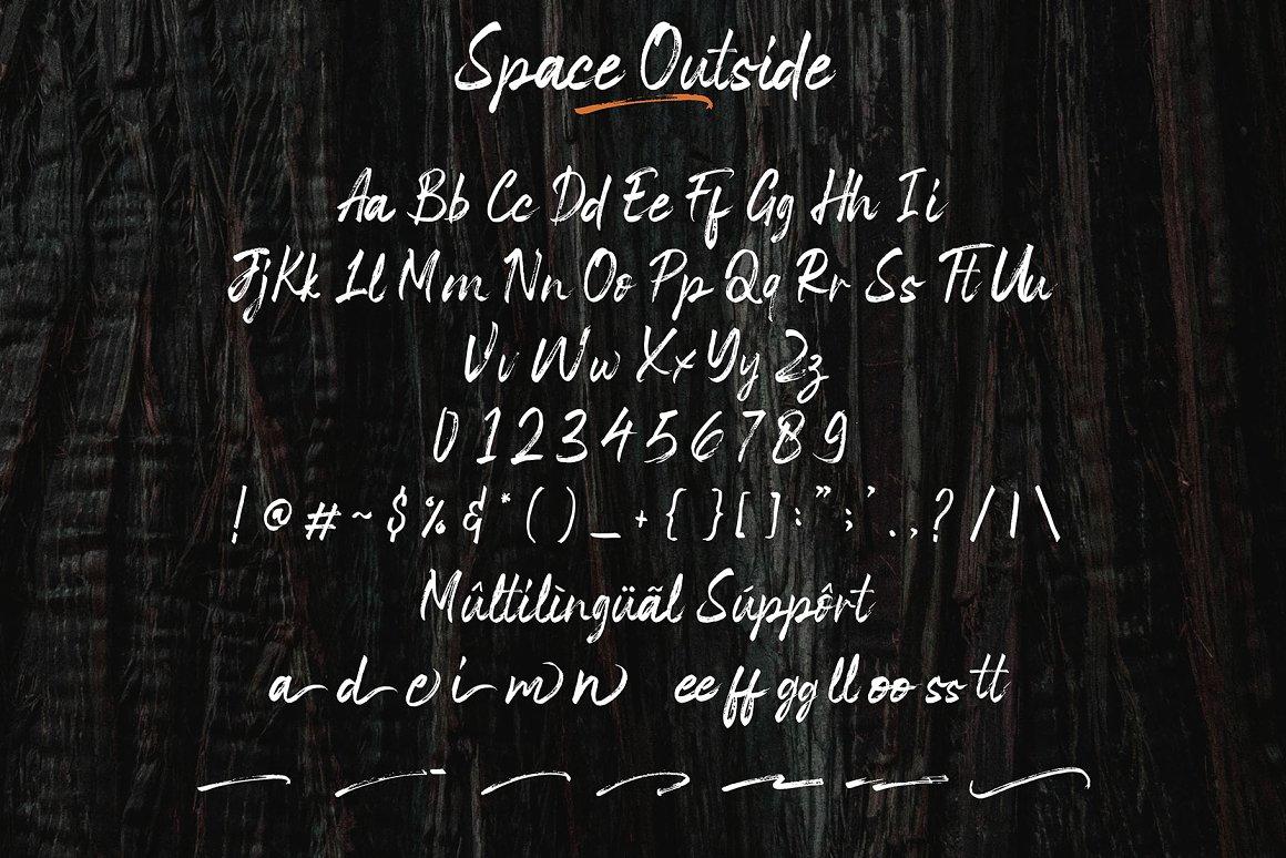 Space Outside Free Font - script