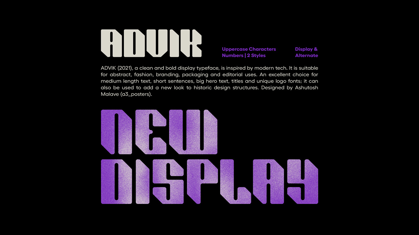 ADVIK Free Font - decorative-display