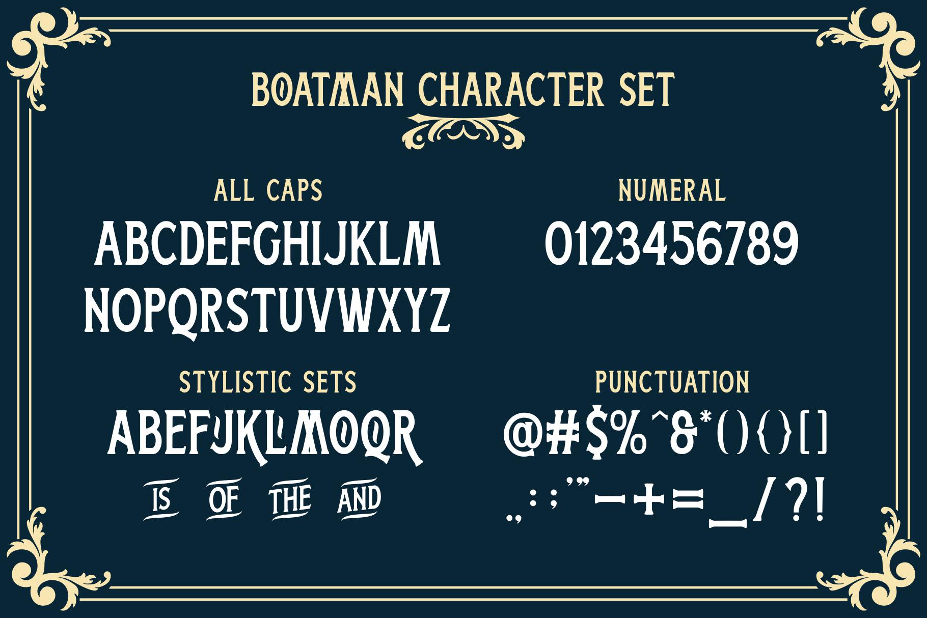 Boatman Free Font - decorative-display