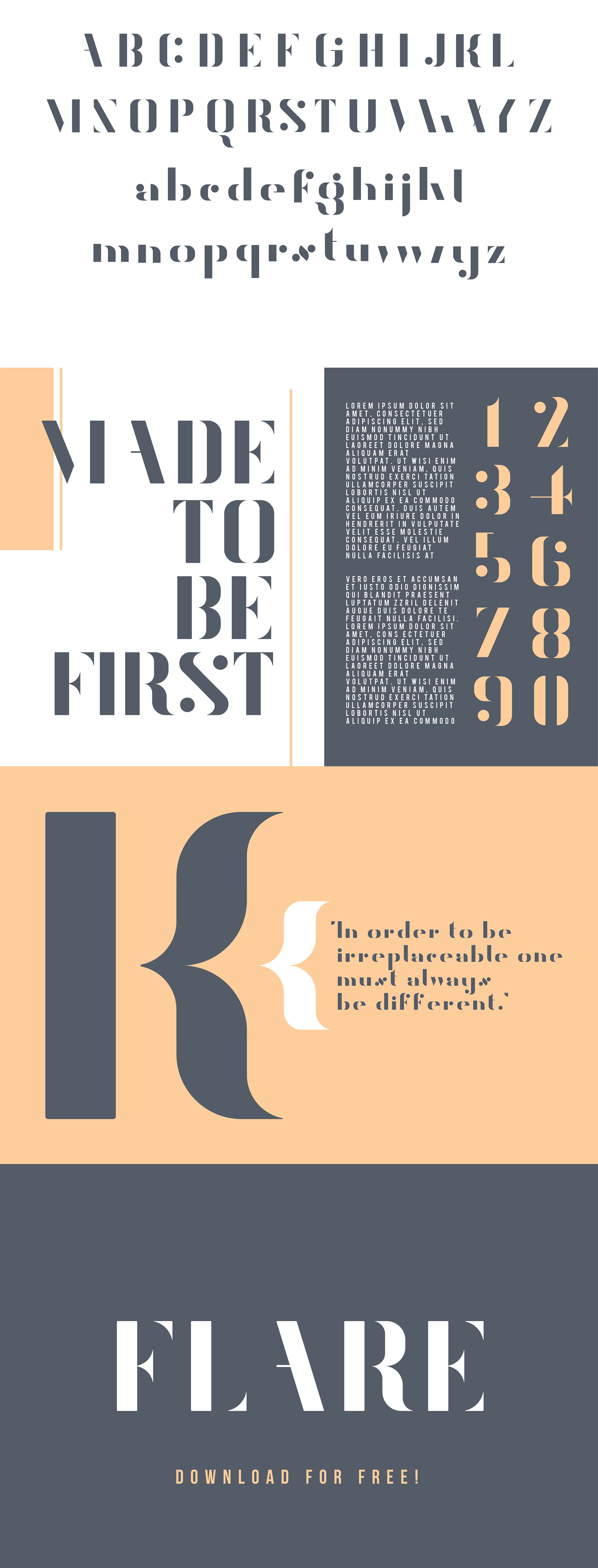 Flare Free Typeface - sans-serif, decorative-display