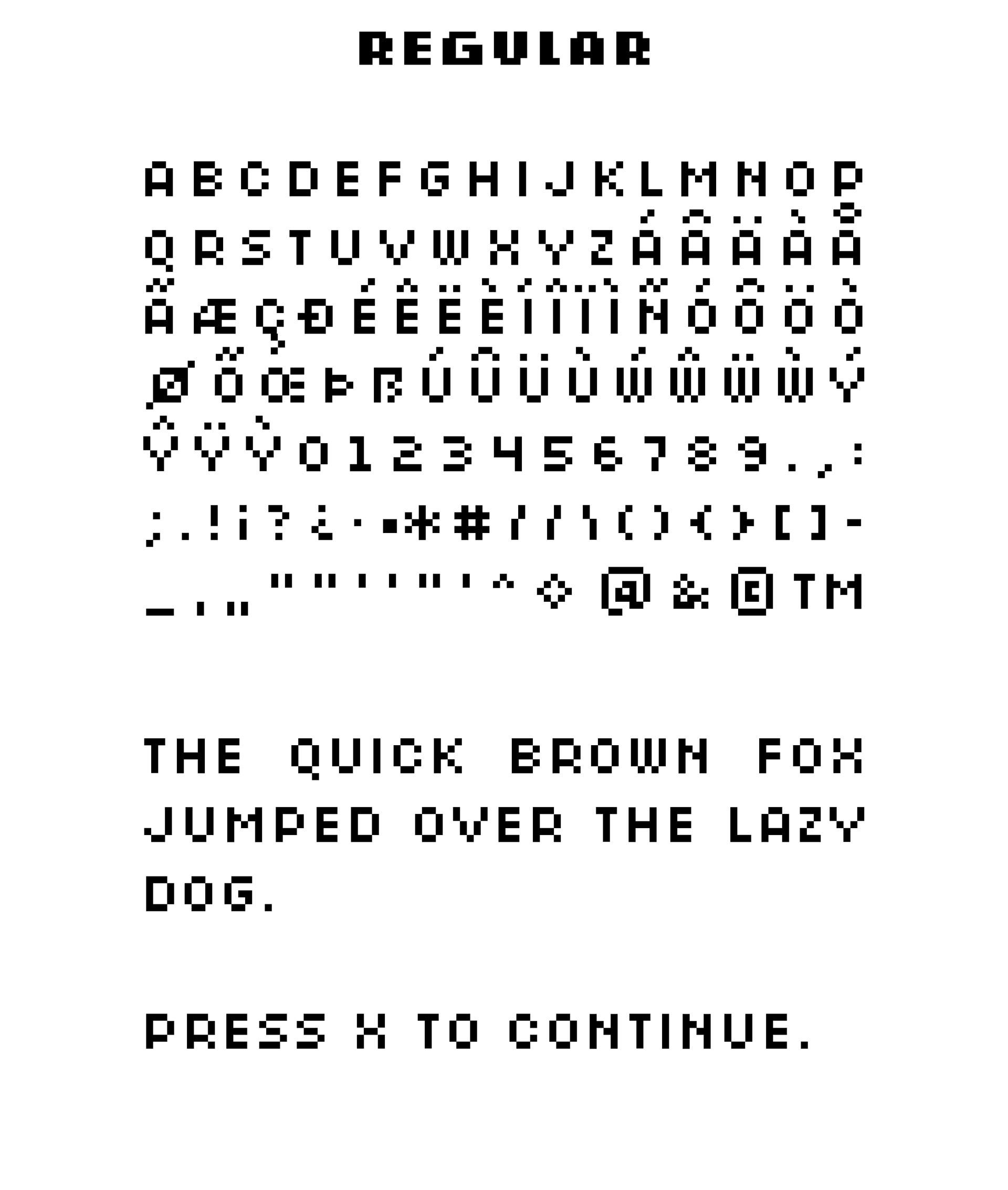 Retrograde Free Pixel Font - bitmap-fonts
